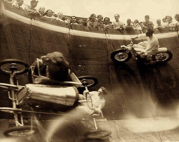 Wall Of Death with lion in sidecar, around 1929.