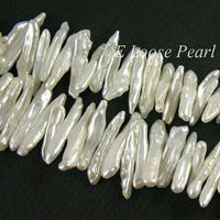 AA Sladkovodné Pearl Biwa perla Natural Ivory biele Loose Pearl 4,0 až 5,5 mm X 16-27mm 90pcs Plný Strand Item No: PL4080