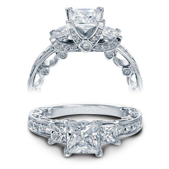 Diamoire Jewels Round Swarovski Zirconia Ring Set in 10Kt White Gold - UK U - US 10 1/4 - EU 62 3/4 TTlW6