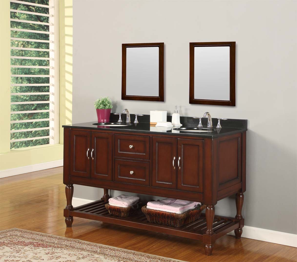"show details for 60"" mission turnleg style double bathroom vanity"
