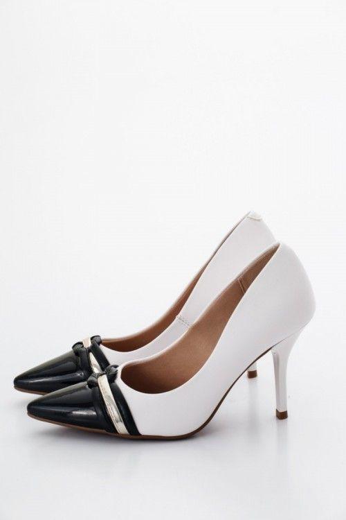 2824caff8b Fekete/Fehér/Arany Beira Rio Conforto Női Magassarkú cipő Kép ...