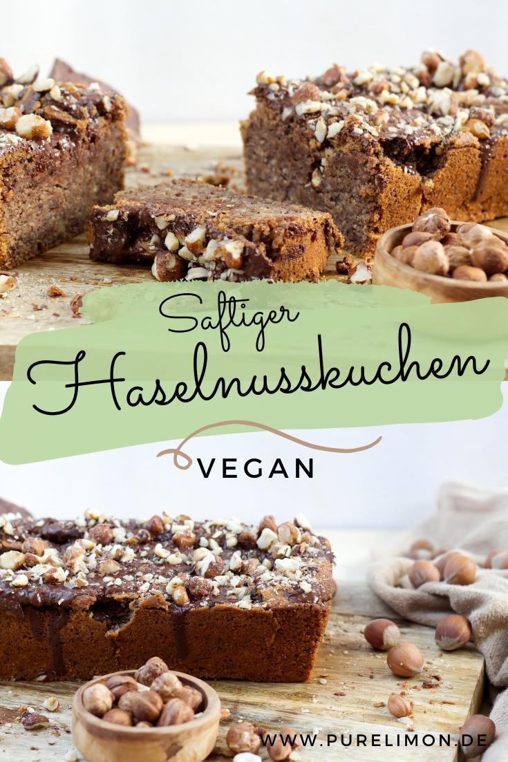 Saftiger veganer Haselnusskuchen mit Schokoglasur • purelimon
