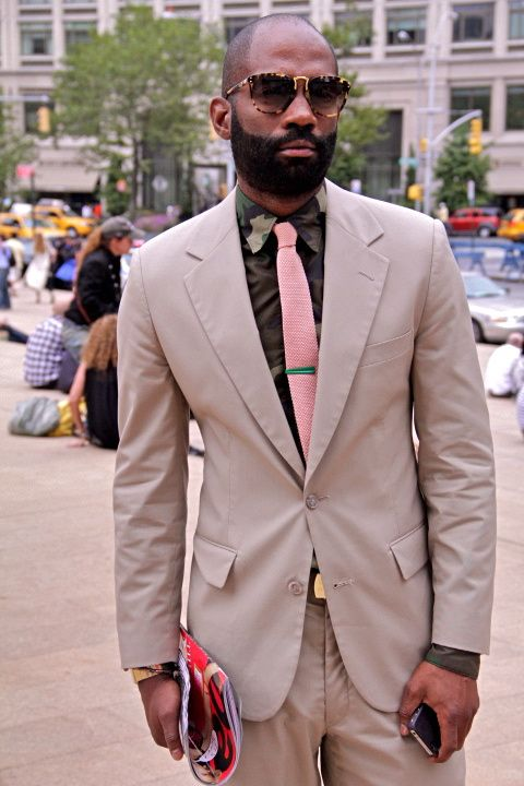 Tan Suit, Pink Tie, Fatigue Shirt, Brown Shirt | Suited and Booted ...