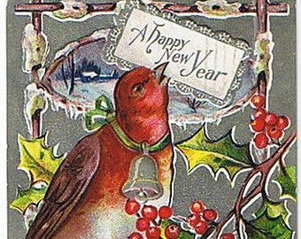 Vintage Postcard: Embossed New Year Card with Silver Foil and Bird #NewYears #antique #ephemera