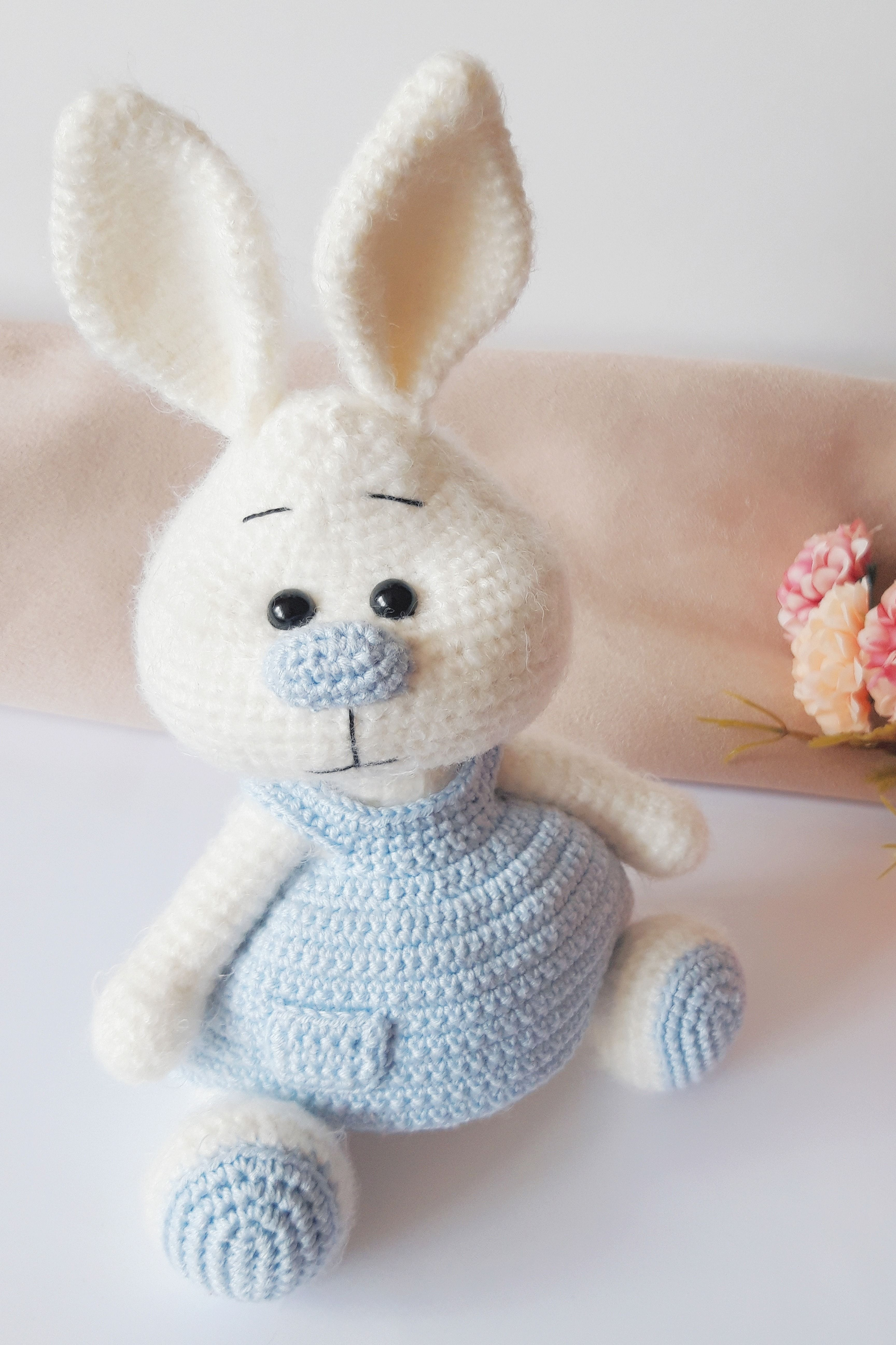 Crochet plush white bunny in a gentle dress Easter bunny Plush rabbit Knitted rabbit Animals Doll Bunny Amigurumi stuffed toy Gifd for girl