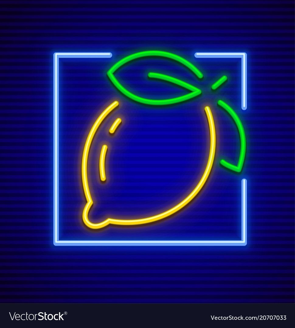 Neon sign icon with lemon vector image on (With images
