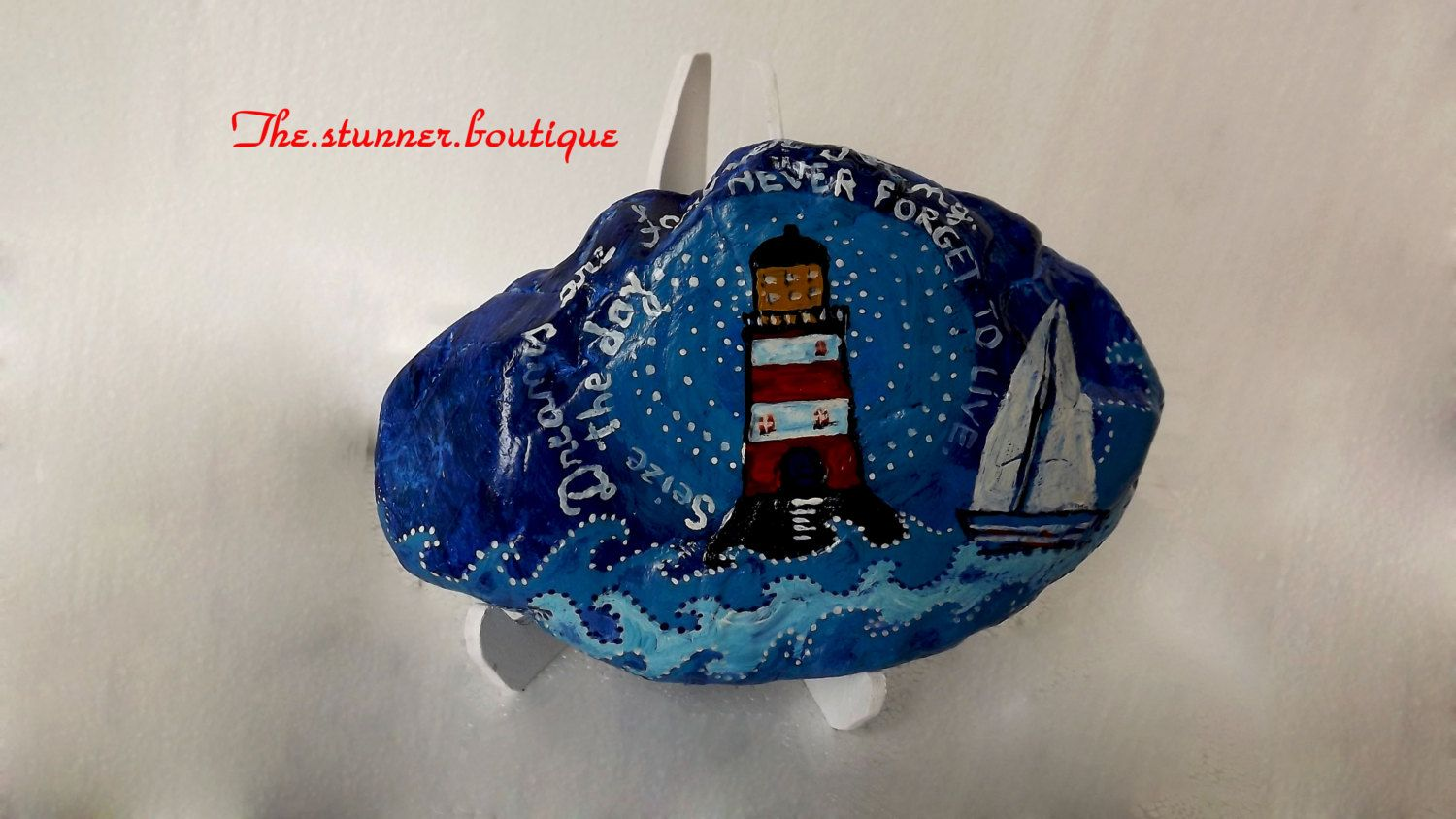 Birthday gift painted rock At the Lighthouse motivational