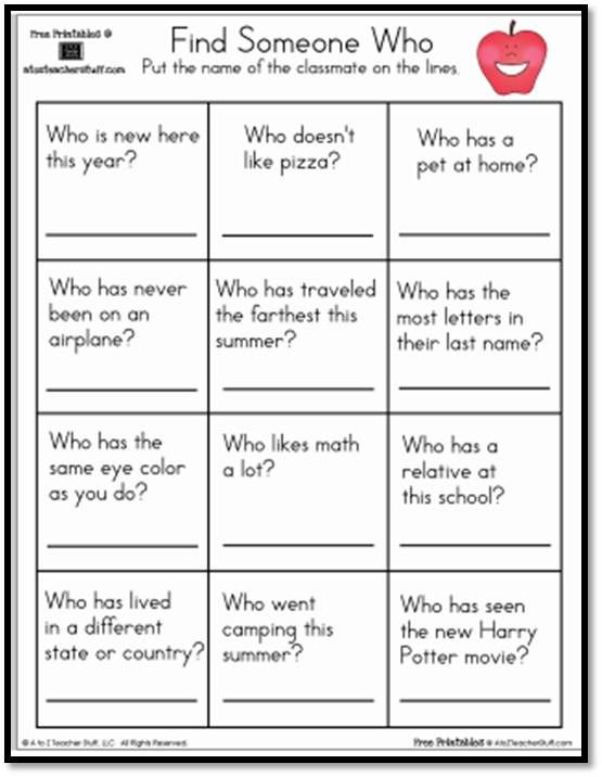 Find Someone Who Worksheet | Printable worksheets, Teacher ...