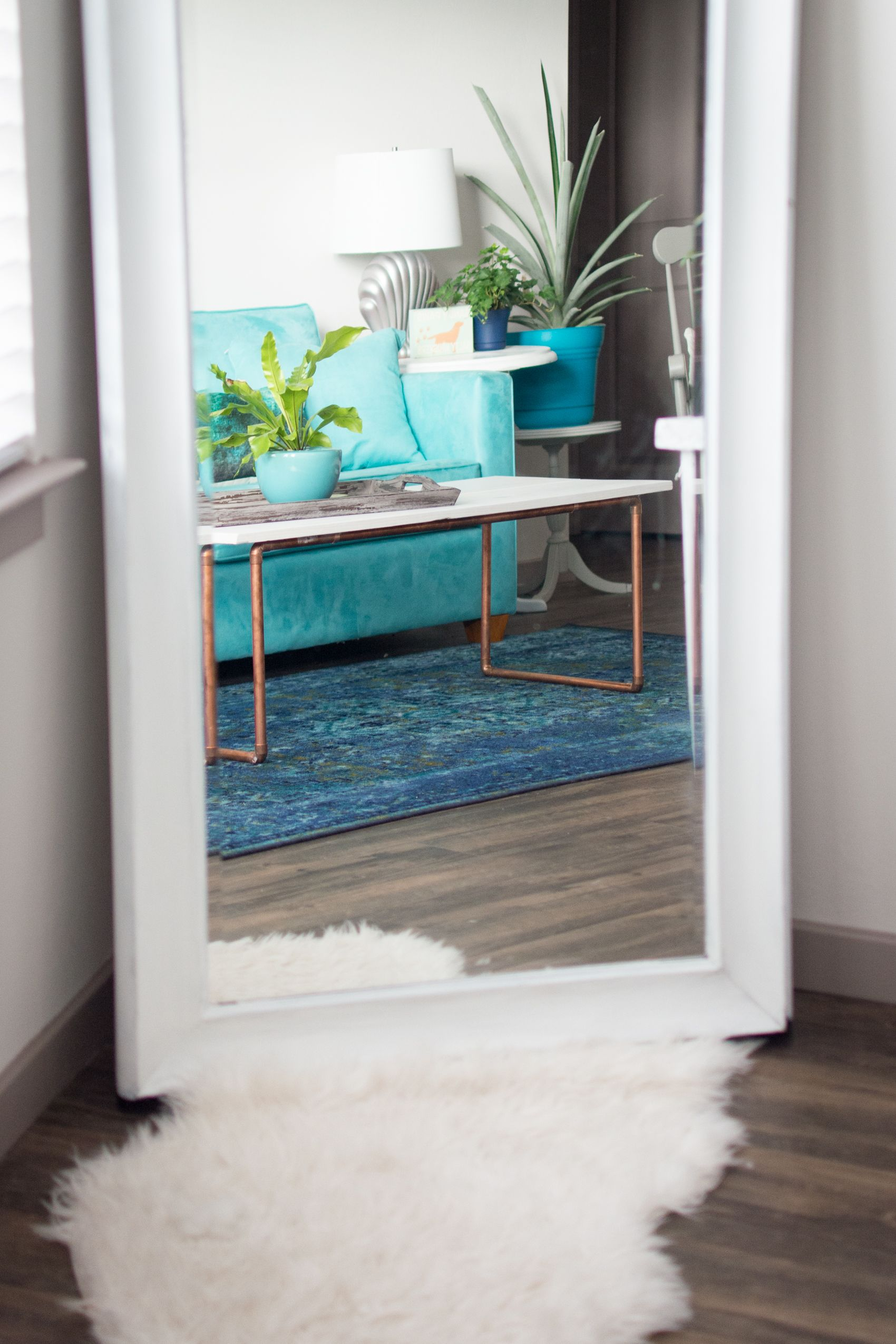 Inexpensive Room Separators Exit Coper: DIY Wood & Copper Coffee Table