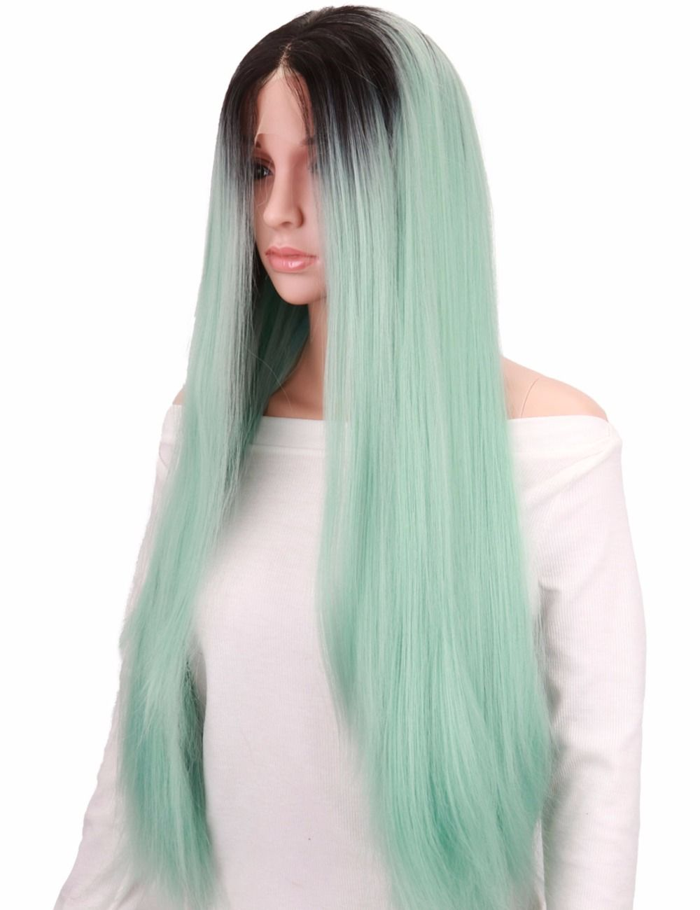 Colodo long mint green wig straight ombre dark root synthetic lace
