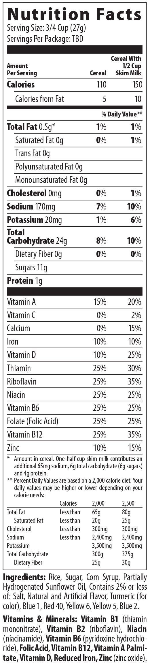 cereal nutrition label | Malt-O-Meal Fruity Dyno Bites® Nutrition Facts