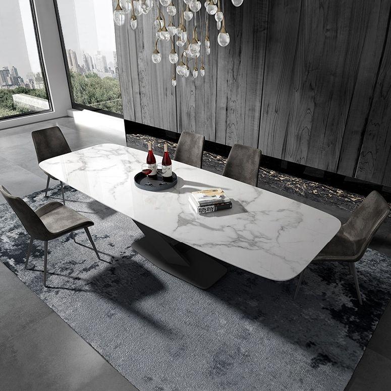 Stylish 63 71 79 Rectangular White Faux Marble Dining Table With Black Metal Frame Faux Marble Dining Table Dining Table Marble Dining Table Black