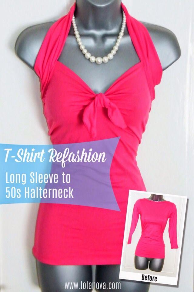 ❤ 💕Turn A Long Sleeve Shirt Into A 50\'s Halterneck💕❤ | Aus ...