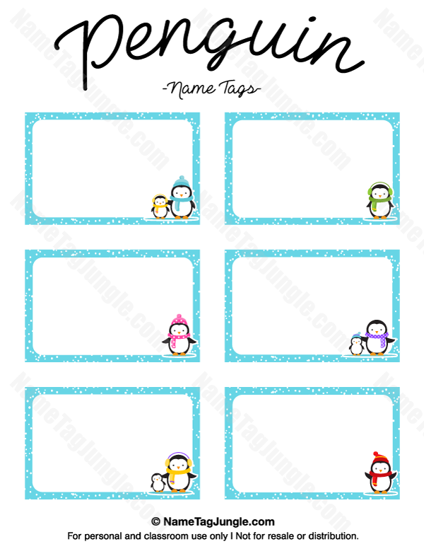 Free Printable Penguin Name Tags The Template Can Also Be Used For Creating Items Like Labels And Place C Penguin Names Printable Name Tags Name Tag Templates