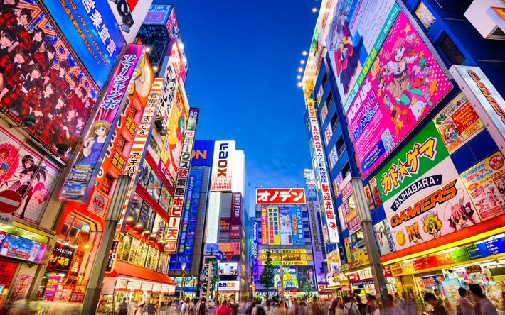 Download wallpapers Tokyo, illumination, street, 4k, skyscrapers, Asia, Japan besthqwallpapers.com | Japan tourist, Japan travel, Akihabara tokyo