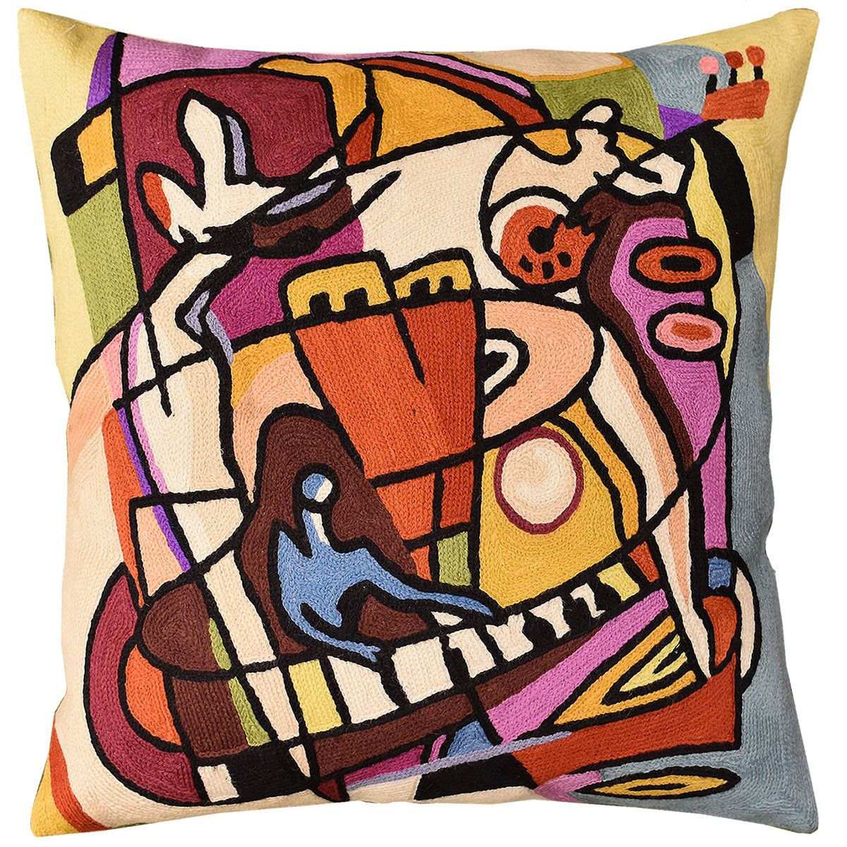 decorative accent cushion cream abstract ivory pillow throw elements modern sofa cushions contemporary kandinsky couch cover pillows