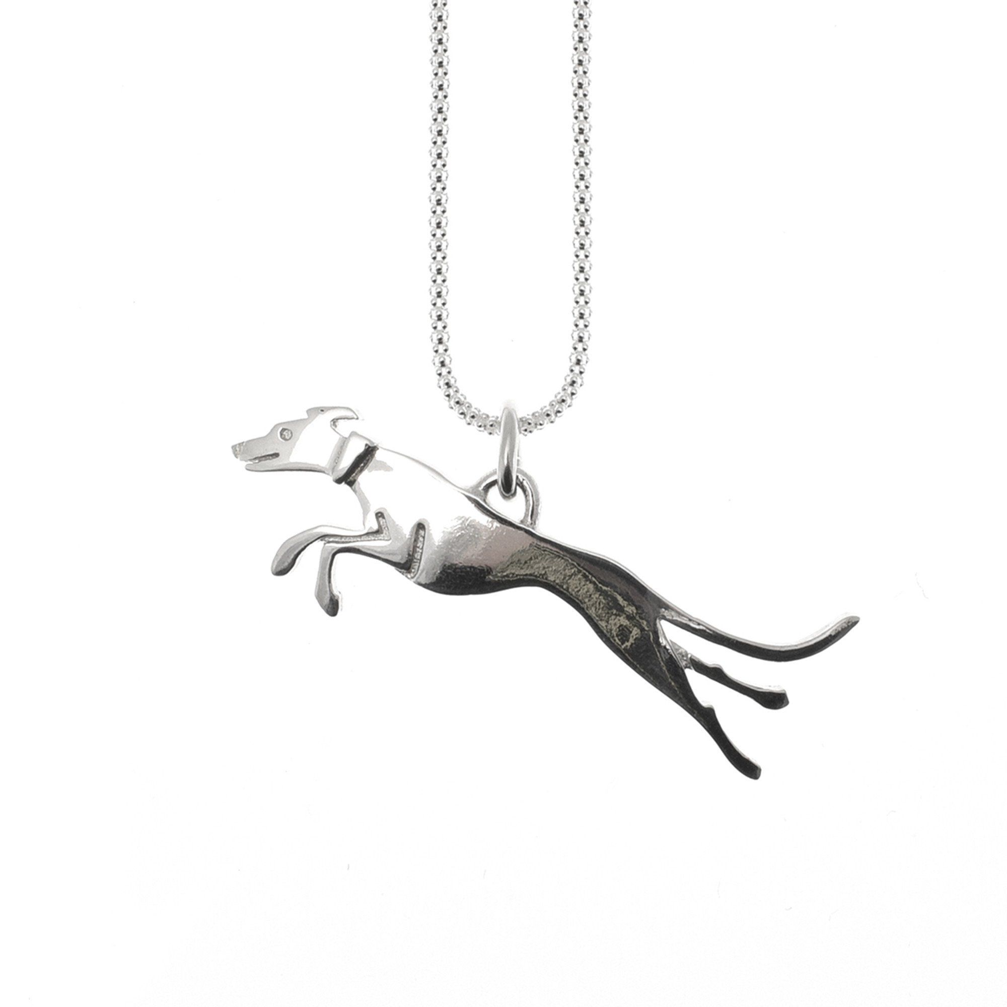 Greyhound Running Sterling Silver Pendant | Saba Jewellery  When you subscribe to my website newsletter you get a 15% discount.