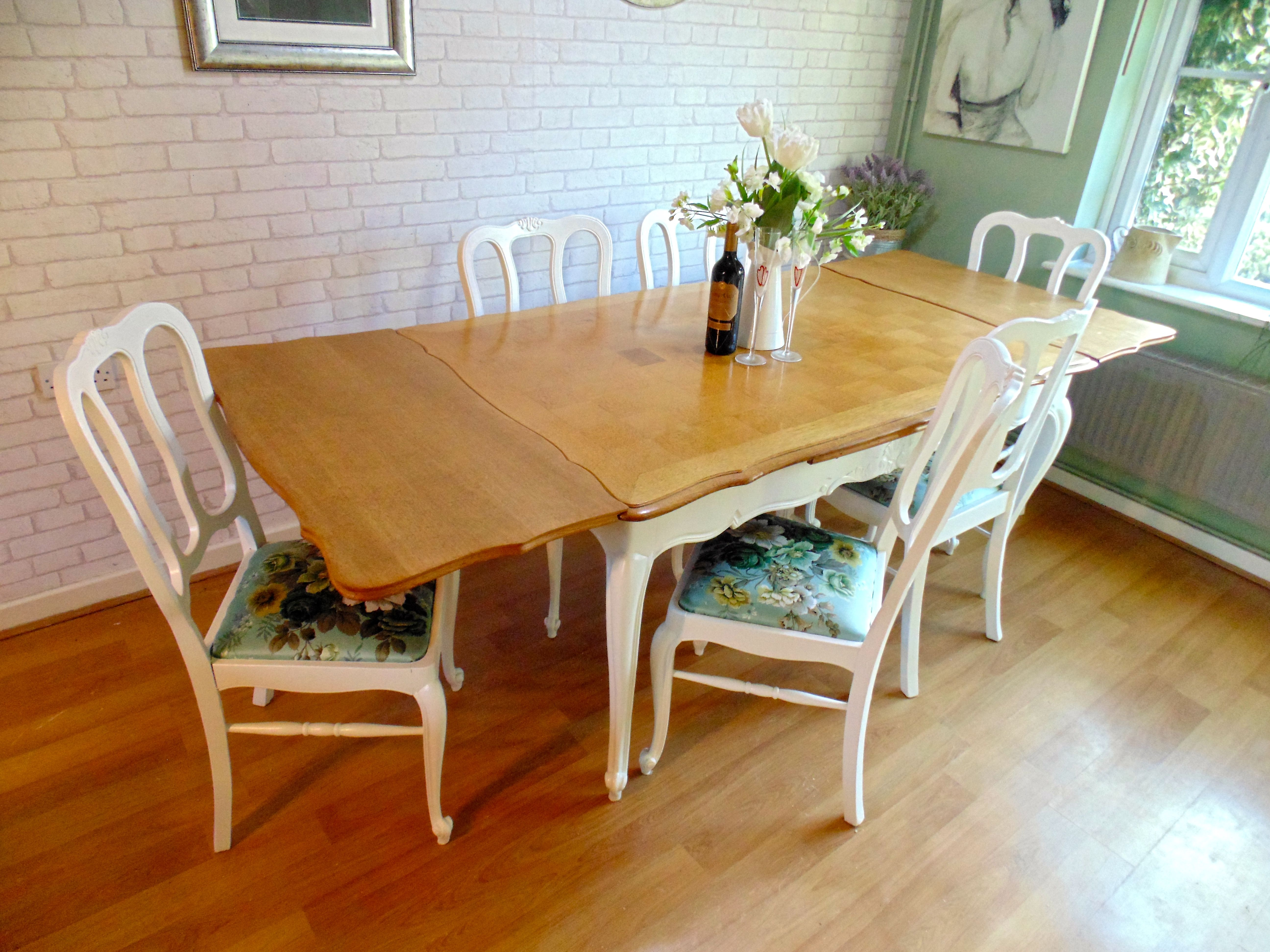 Beautiful Extending Dining Table And Chairs From France Painted