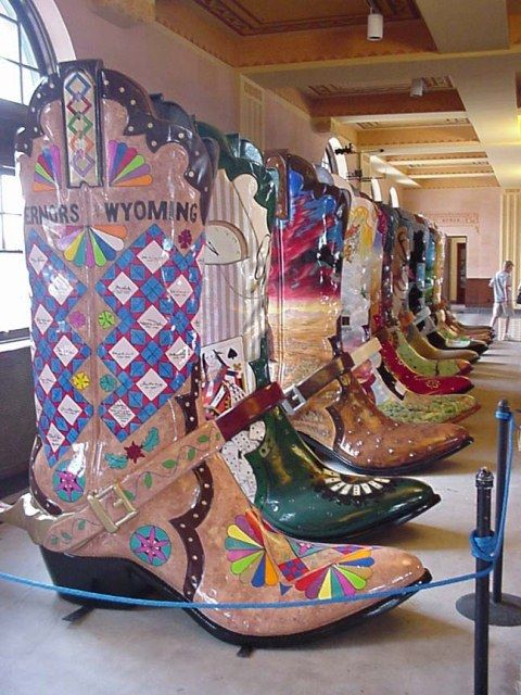 The 8ft tall Big Boots of Cheyenne Wyoming have been installed all