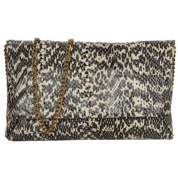 Preowned Lanvin Black Ivory Embossed Snakeskin Clutch Bhw 495 Liked On Polyvore