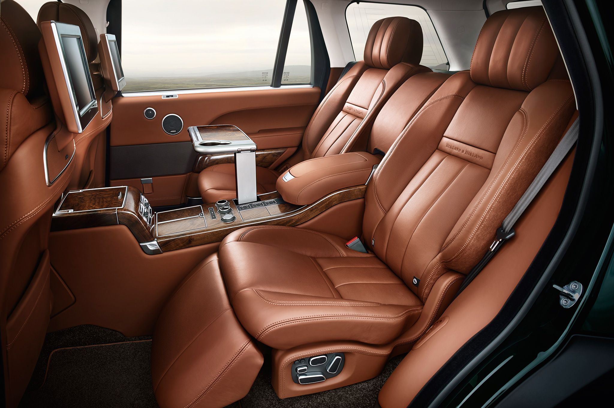 The interior of the land rover range rover holland holland is about as rich as