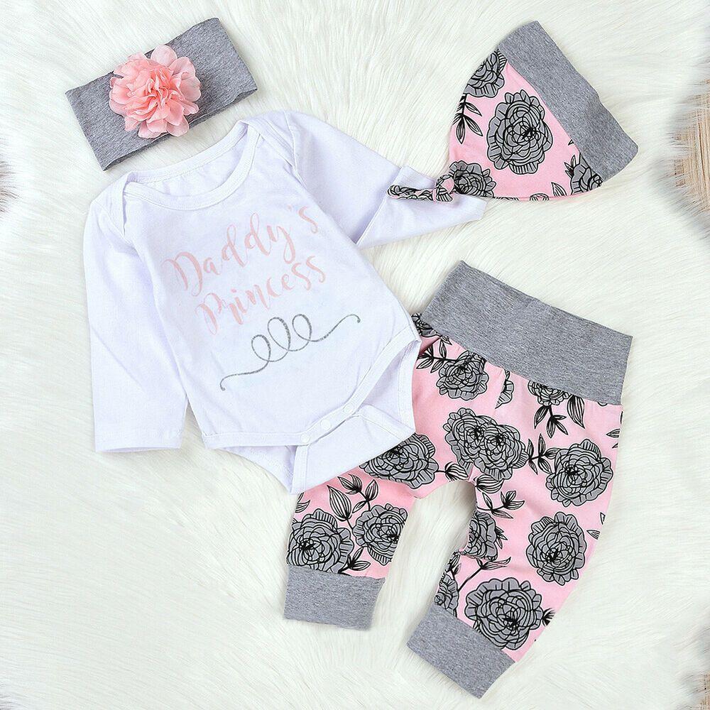b8de3be1f97d9 4PCS Newborn Infant Baby Girl Outfits Clothes Set Romper Bodysuit+Pants  Leggings | eBay