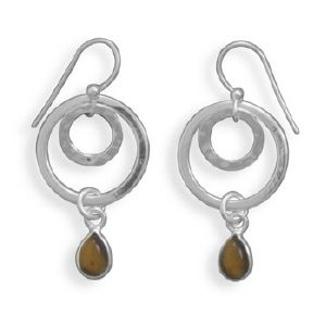 Double Ring Tigers Eye Earrings Tiger Eye Jewelry Designs