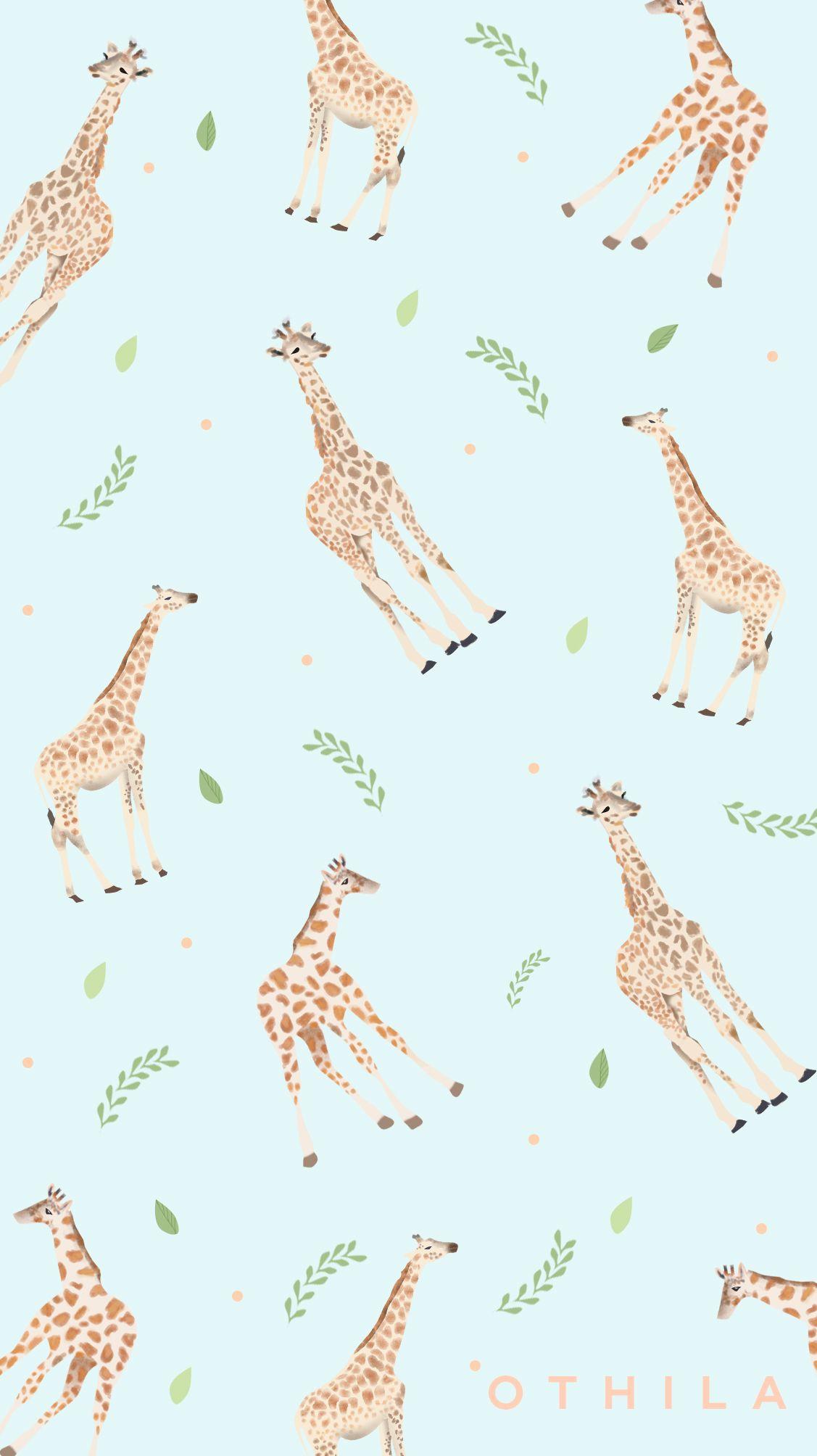 Giraffe Animals Flowers Nature Blue Wallpaper Design Phone Wallpaper Patterns Graphic Wallpaper Apple Watch Wallpaper