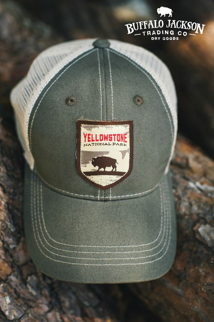 6aceae55 Rugged 6 panel unstructured Yellowstone National Park trucker | baseball |  guide hat. Nylon mesh back.