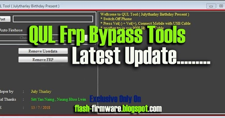 DownloadQUL Frp Bypass Tools Feature: Remove Useradata