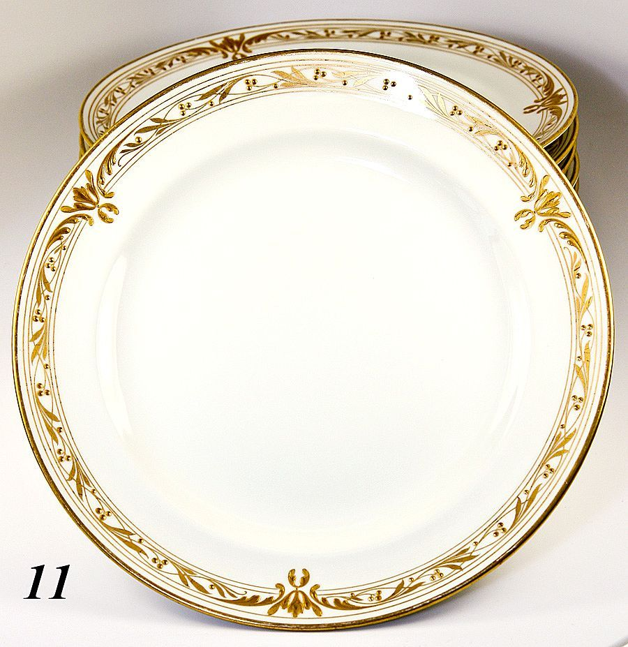 Set of 11 1908 Marked KPM Raised Gold Dinner Plates - Each marked from antiques-uncommon-treasure on Ruby Lane  sc 1 st  Pinterest & Set of 11 1908 Marked KPM Raised Gold Dinner Plates - Each marked ...