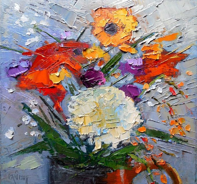 "Flower Knife Painting in Oil, Floral Daily Painting, 8x8"" Still Life, ""Roadside Bouquet"" by CarolSchiffStudio on Etsy"