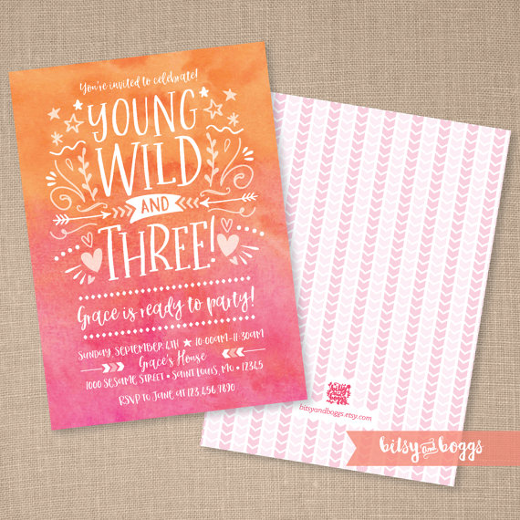 young wild and three invitation 3rd birthday by bitsyandboggs