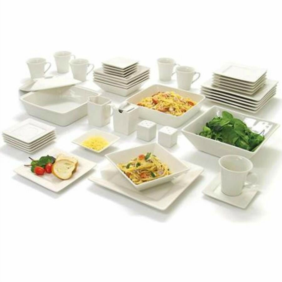 Details about 8 Piece White Dinnerware Set Square Banquet Plates