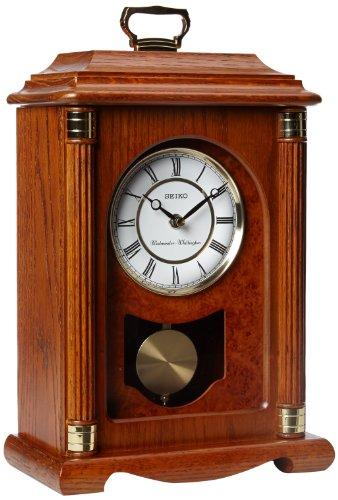 Seiko Mantel Chime With Pendulum Carriage Clock Dark Brown Solid Oak Case Metal Accents Carriage Clocks Mantel Clocks Oak Mantel