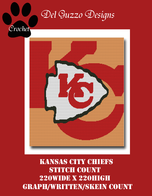 KC Chiefs Graph+Written line by line color coded block instruction SC Throw