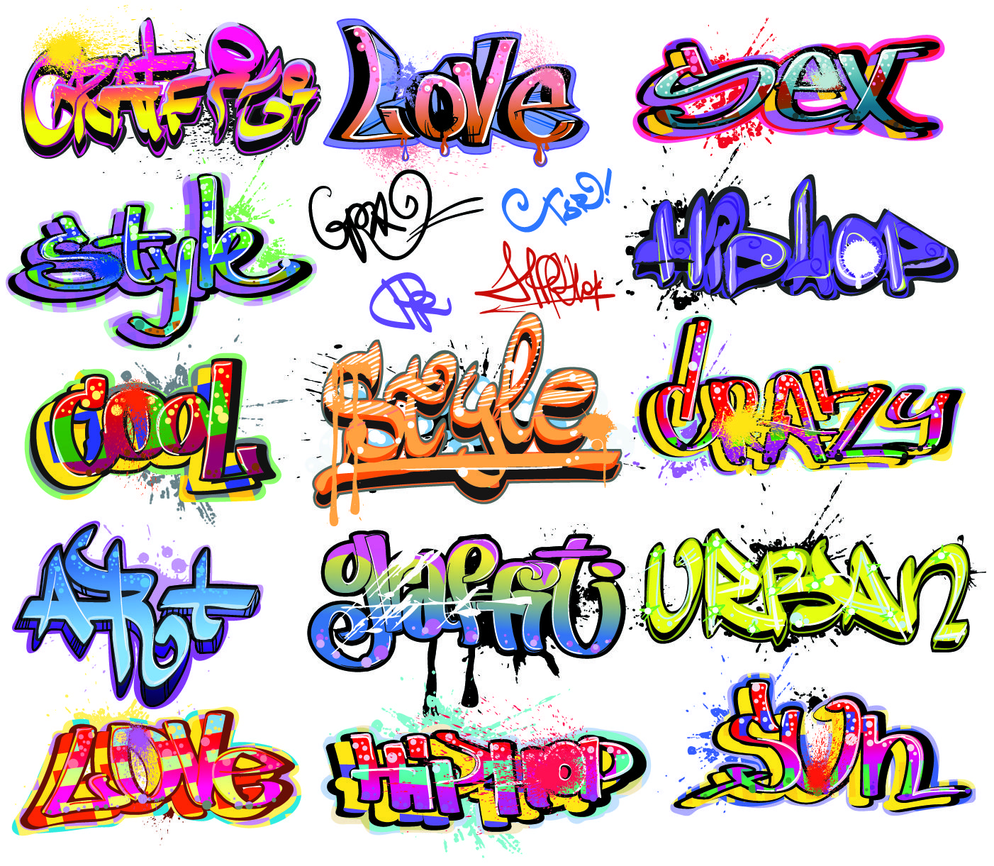 Free illustration g typography font font name free image on - Free Vector Beautiful Graffiti Font Design 01 Vector