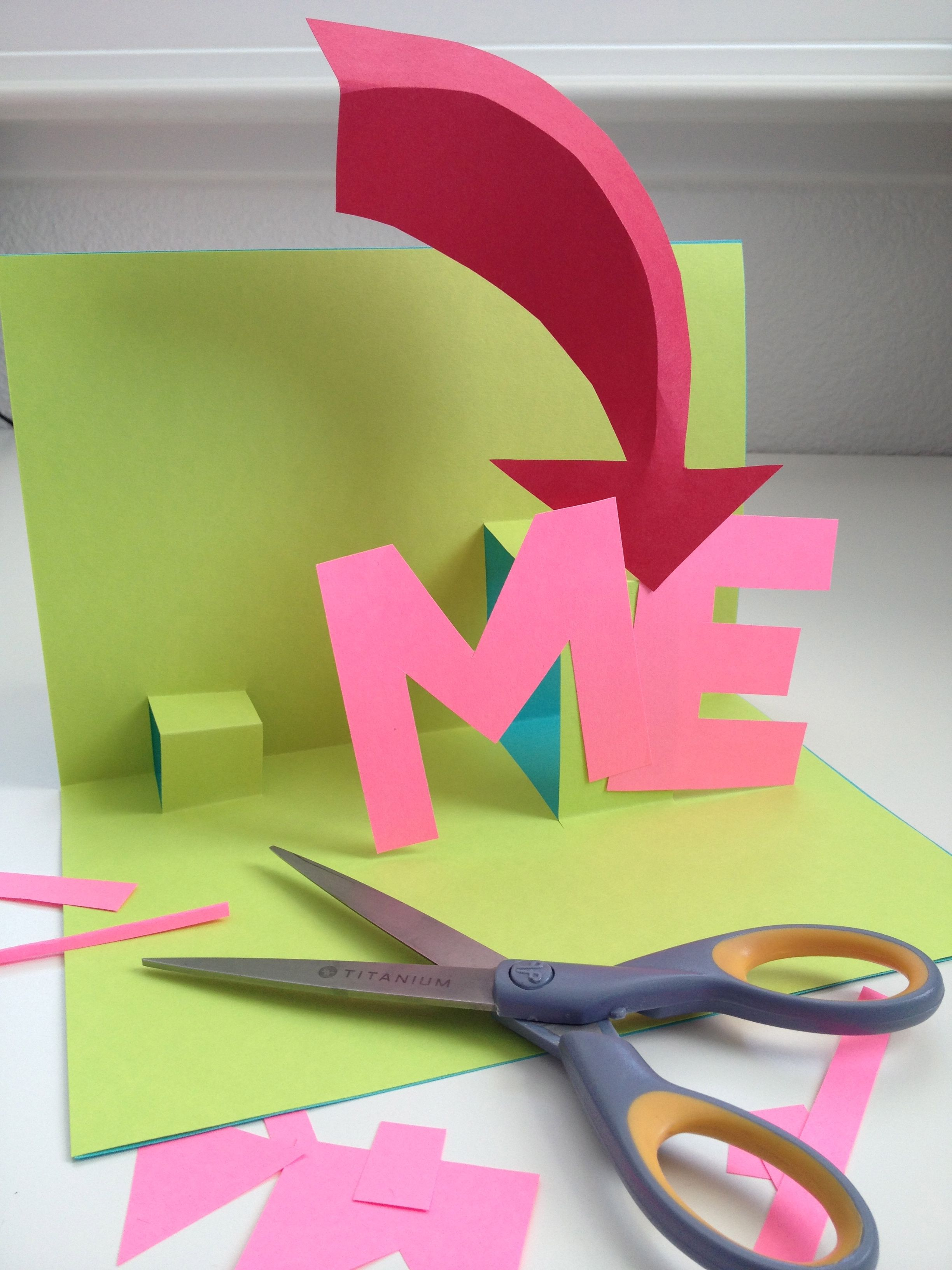 cutting paper and making stand up 3d cards 3d projects