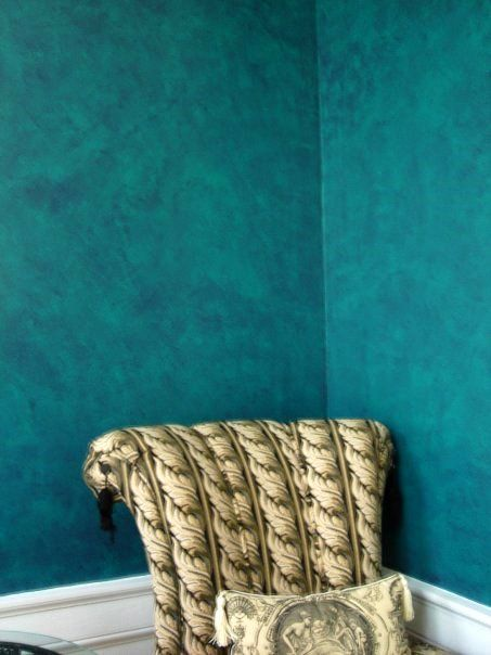 Teal faux paint walls faux finishes interior effects for What finish paint for bedroom