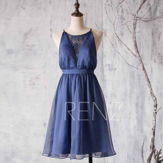 Dark Steel Blue Bridesmaid Dress,Lace neck Wedding Dress,Spaghetti ...
