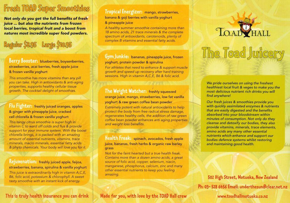 Toad Hall Juicery, Motueka   Cafés   Toad, Hall, Fruit