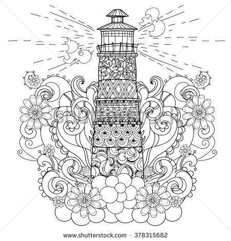 Hand Drawn Doodle Outline Lighthouse Decorated With Floral OrnamentsSketch For Tattoo Poster Or Coloring PagesBoho Style
