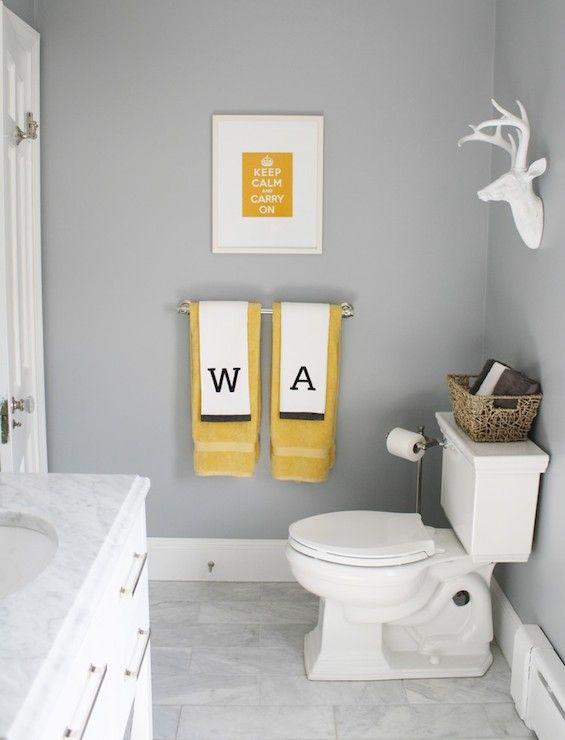 Simply Modern Home   Bathrooms   Benjamin Moore   Marina Gray   Gray Walls,  Gray Wall Color, Yellow And Gray Bathroom, Yellow Art, Yellow Keep Calm And  ...