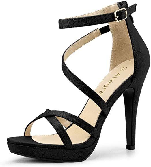 Allegra K Women's Strappy Platform Stiletto Heels Black Sandals - 7 M US | Sandals