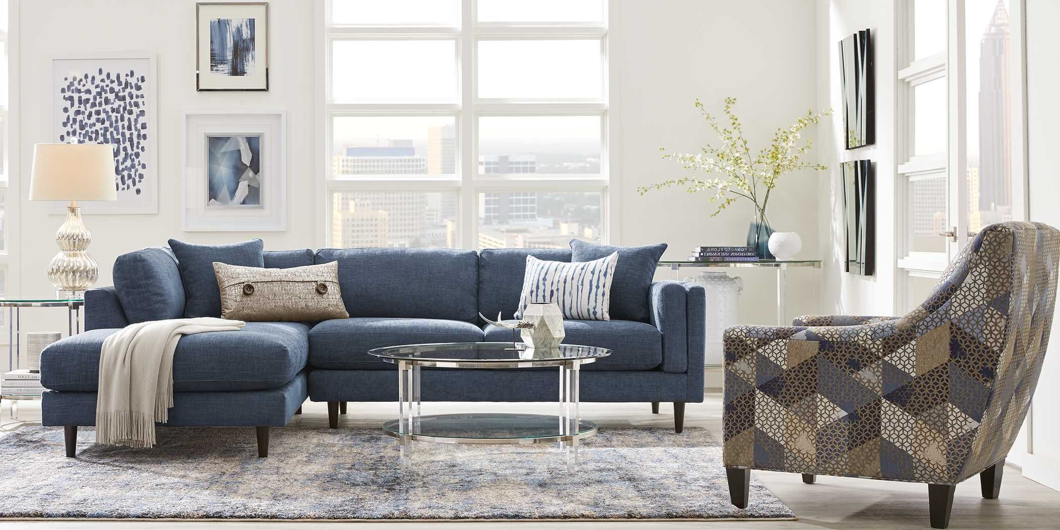 metro lounge sapphire 2 pc sectional  rooms to go