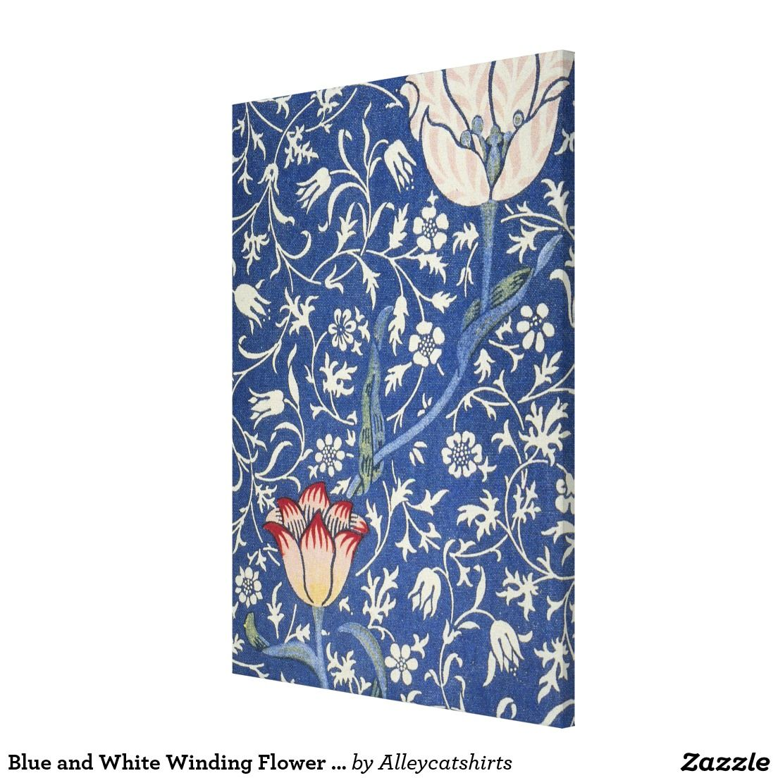 Blue and White Winding Flower Design Canvas Print