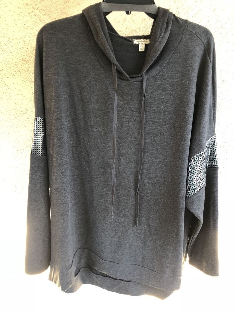 94f1c9d769c NWOT Eyeshadow Plus Size Gray Long Sleeve Hoodie Sequence Sweatshirt ...