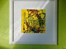 abstraktes Bild, gold, gelb, Acryl, Bilderrahmen