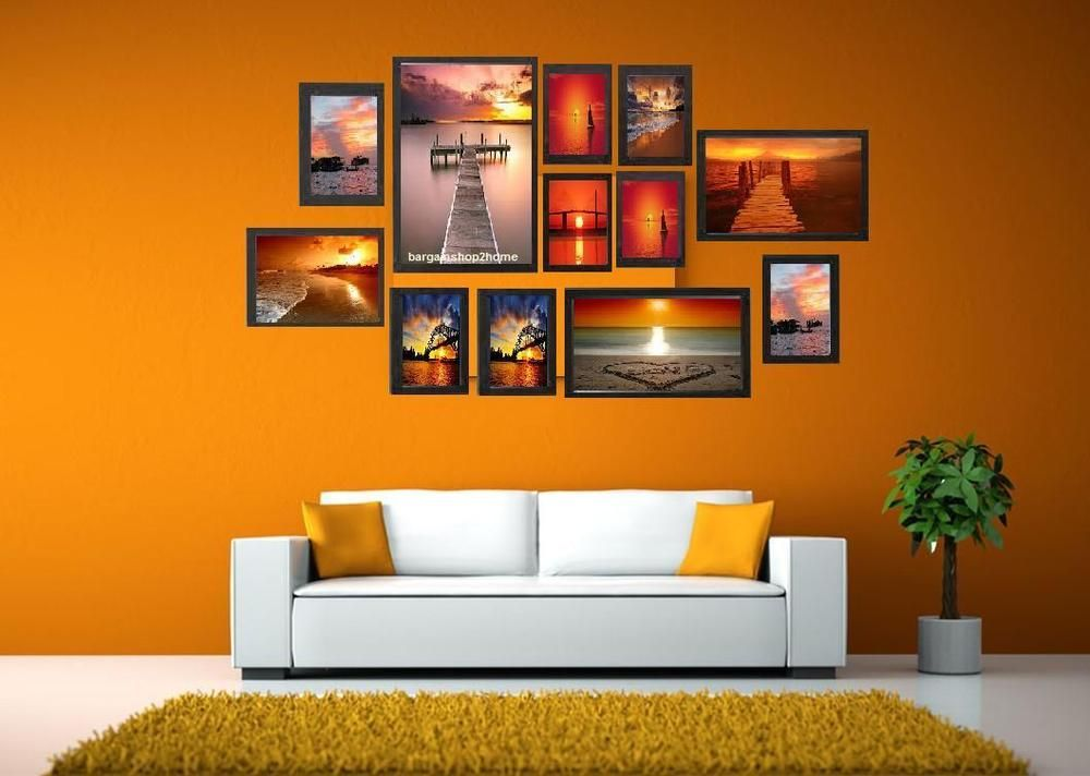Black Multi Picture Photo Frame 12 Pieces Set Wall Frames Set