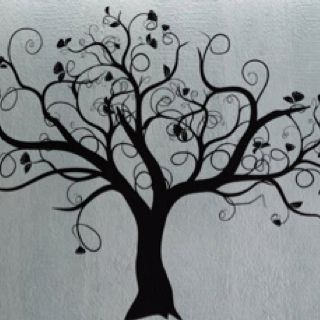 Swirly tree wall decal